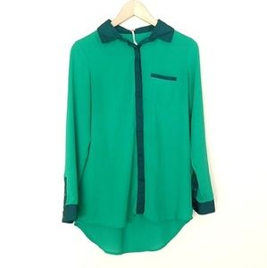 Free People Bright Green Sheer Hi Lo Button Blouse